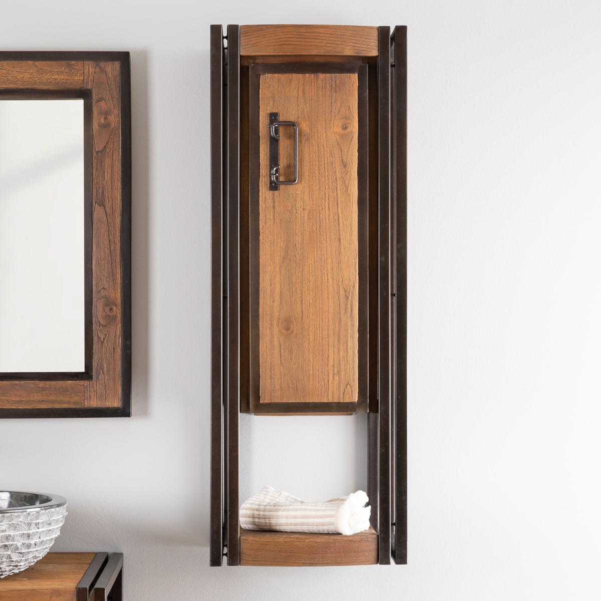 Colonne de salle de bain suspendue Elégance teck métal 110 cm
