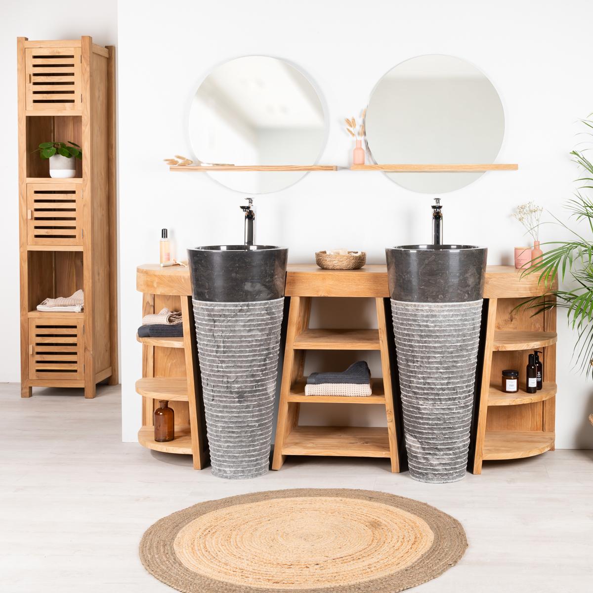 Meuble de salle de bain en teck Florence double 180cm + vasques noir