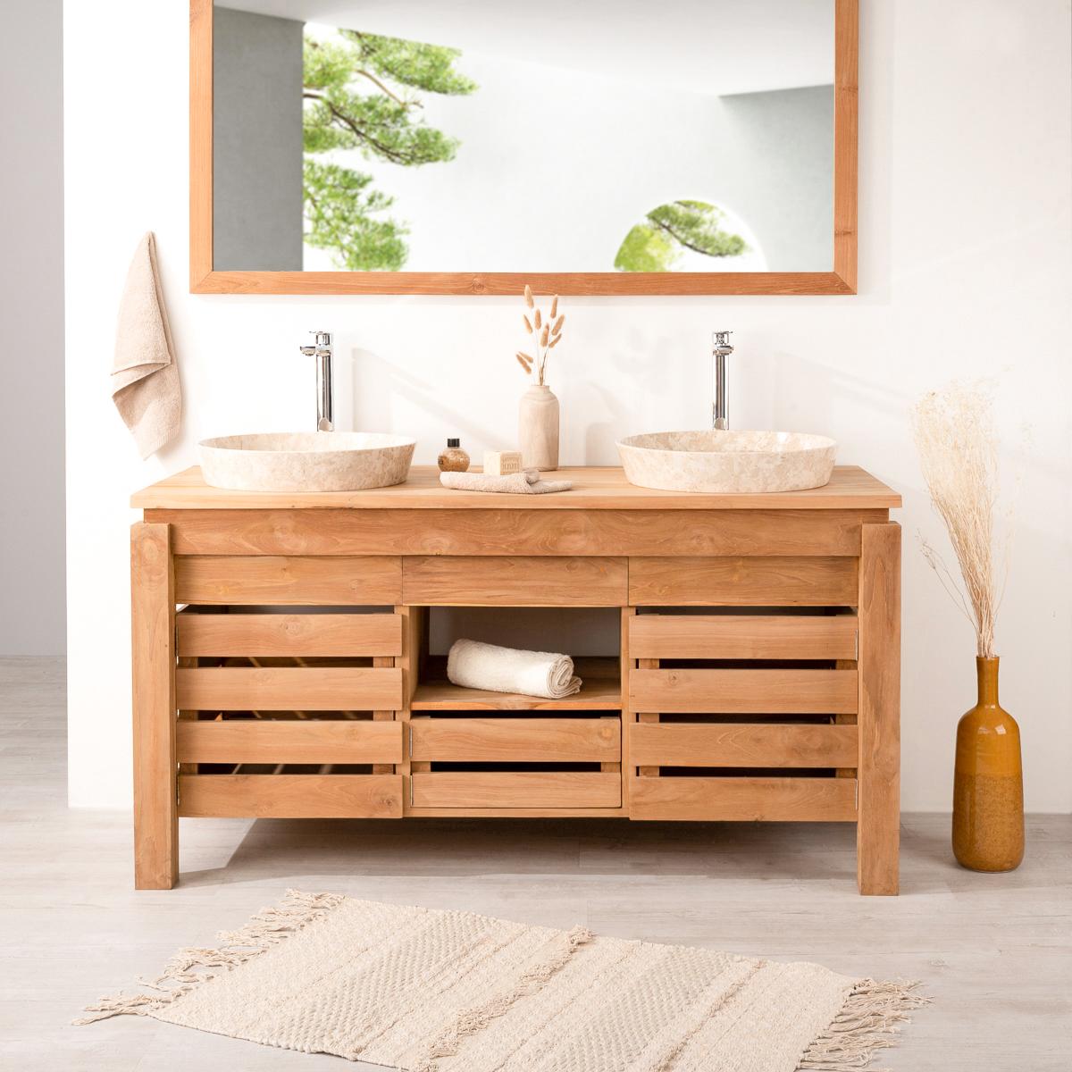 Meuble de salle de bain en teck ZEN double vasque 15cm