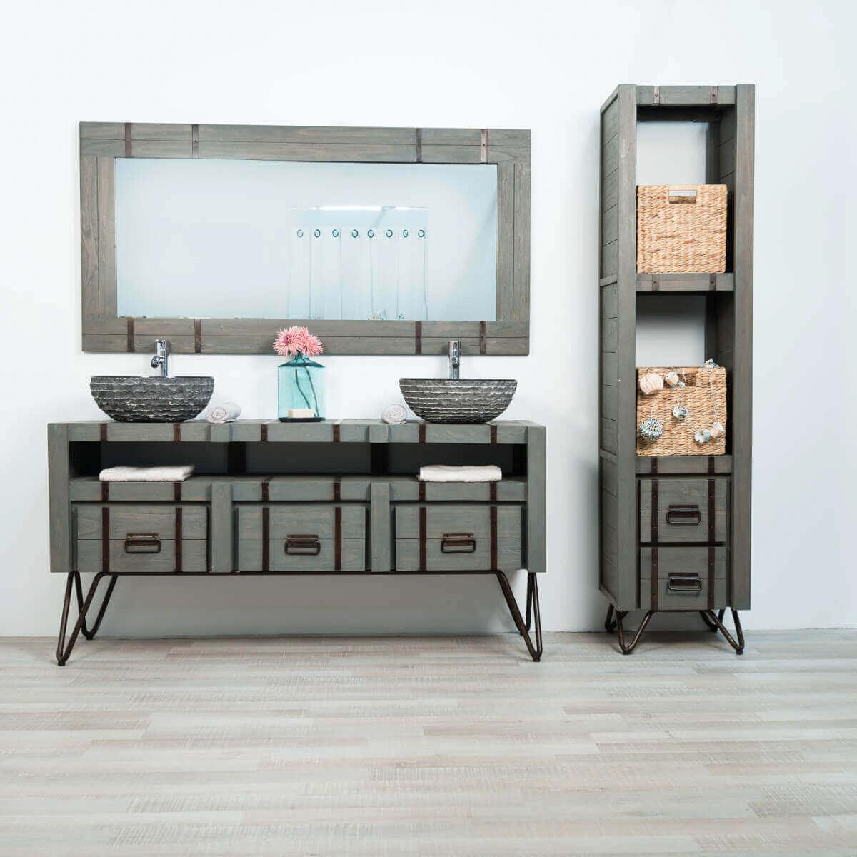Meuble double de salle de bain LOFT en mindi et métal 160 cm gris