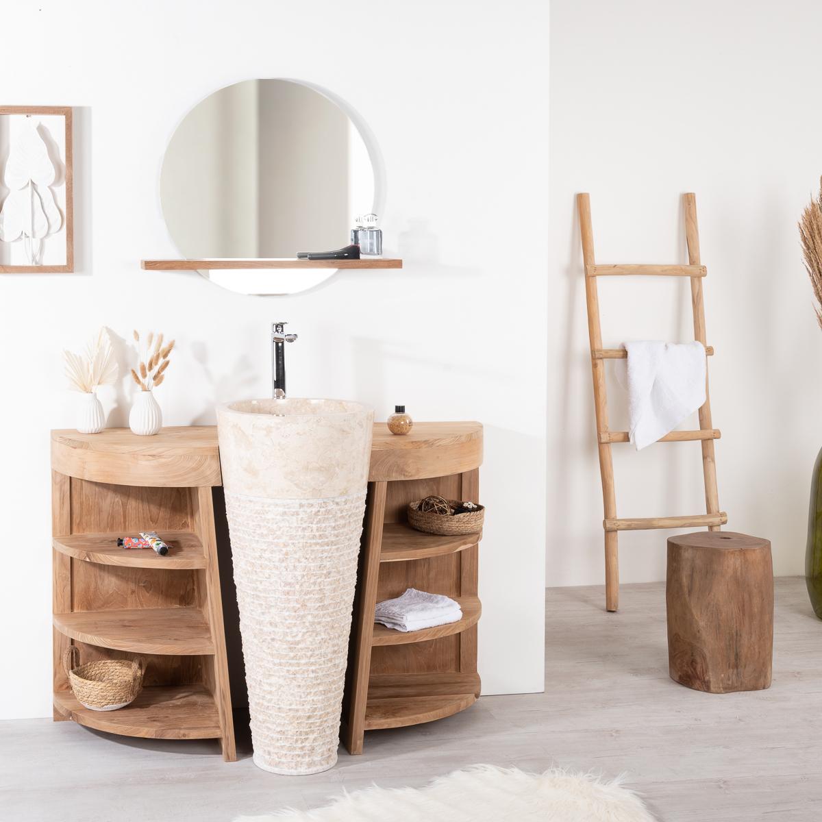 Miroir Bologne de salle de bain rond en teck massif