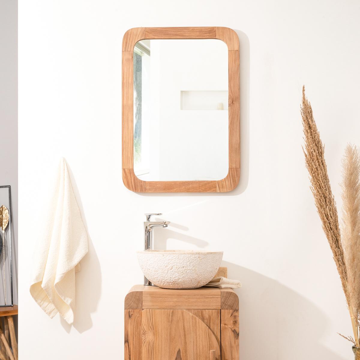 Miroir Rétro en teck massif 70 cm X 50cm