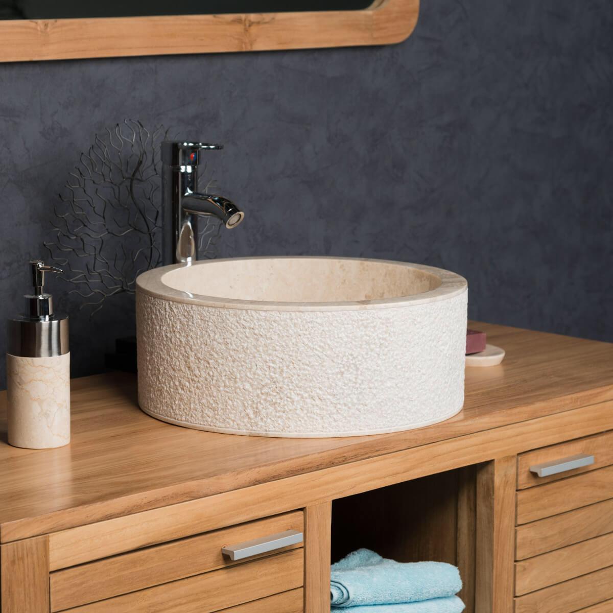 Etagere Pour Vasque A Poser vasque à poser de salle de bain en marbre elbe crème 40cm
