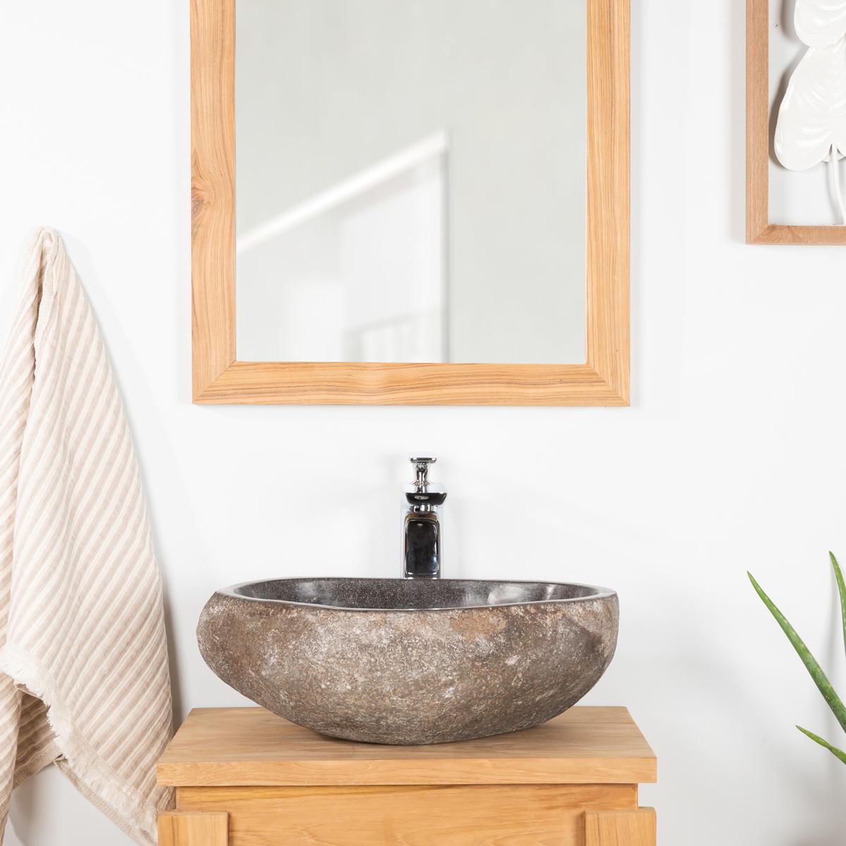 Comment Installer Un Lave Main Avec Meuble vasque à poser en pierre naturelle salle de bain galet 30 cm