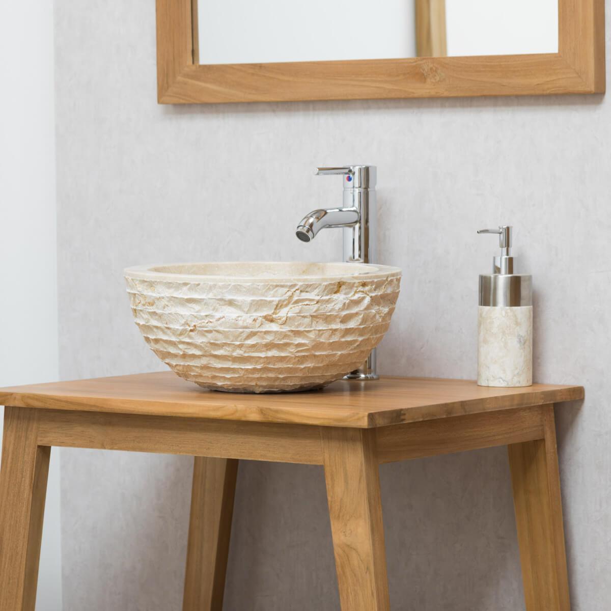 Plan Vasque En Pierre vasque ronde à poser en pierre vesuve crème 35cm